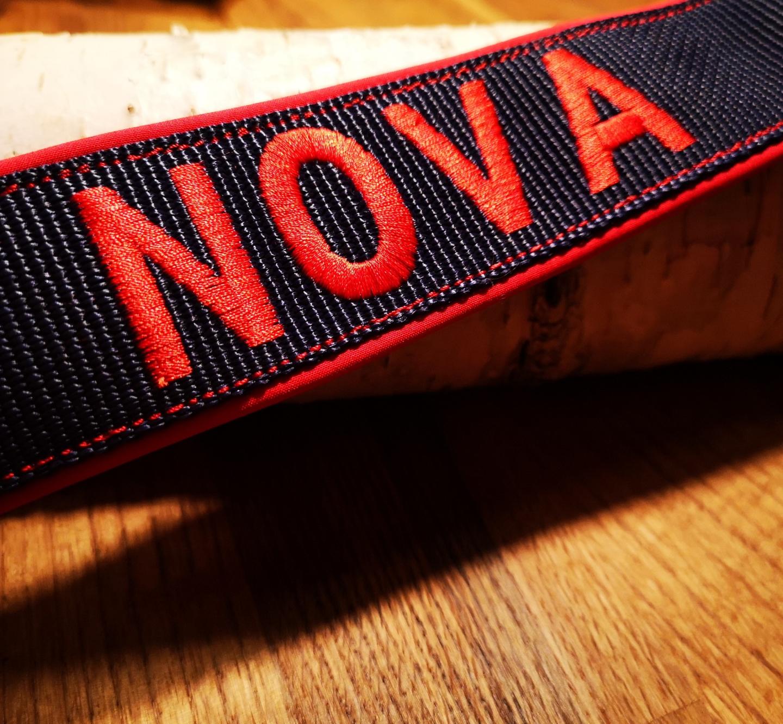 Cobra Halsband schwarz, rot bestickt & unterlegt, rote Nähte