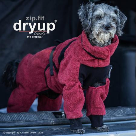 Hundebademantel mit Beinen Dryup Body Zip.Fit MINI bordeaux